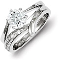 CZ Silver Engagement Bridal Wedding Ring Set