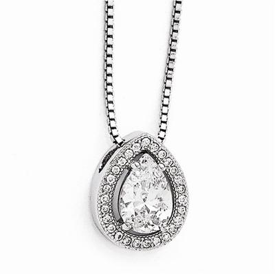 CZ Teardrop Necklace in Sterling Silver