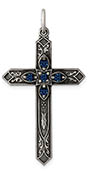 December Birthstone Cross Pendant Sterling Silver