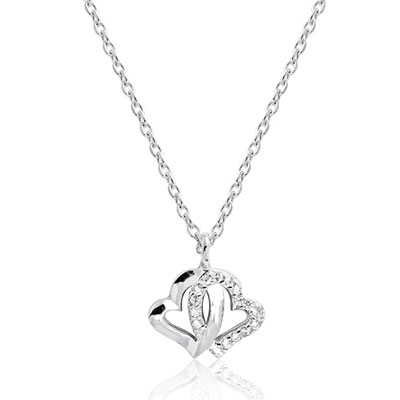 Double Heart CZ Necklace in Sterling Silver