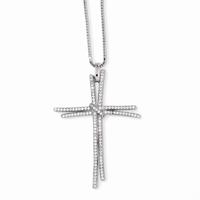 Entwined CZ Cross Necklace in Sterling Silver