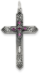 February Birthstone Cross Pendant, Sterling Silver