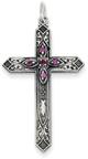 February Birthstone Cross Pendant, Sterling Silver