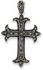Fleur-De-Lis Marcasite Cross Pendant, Sterling Silver