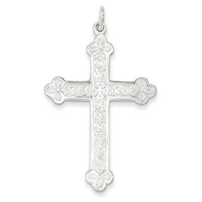 Heraldic Flower Budded Cross in Sterling Silver