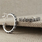 Handmade Oxidized Flower Hoop Earrings in Sterling Silver
