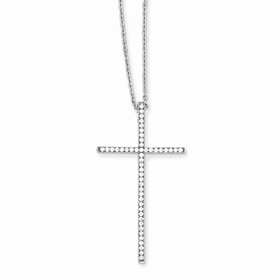 God's Glory CZ Cross Necklace in Sterling Silver