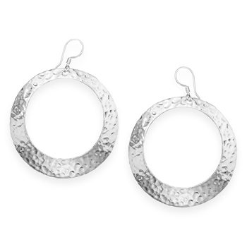 Hammered Open Circle Earrings, Sterling Silver