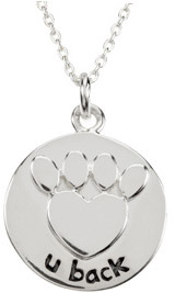 Heart U Back - Raised Paw Pendant in Sterling Silver