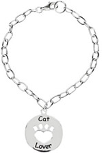 Heart U Back - Cat Lover Bracelet in Sterling Silver