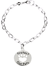Heart U Back - Protect our Pets Bracelet in Sterling Silver