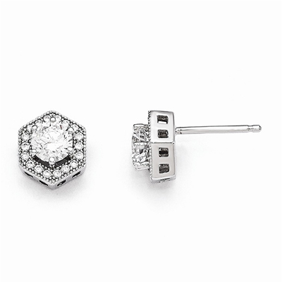 Hexagon Post Earrings with Cubic Zirconia in Sterling Silver
