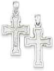 Hollow Double-Sided Crucifix Pendant, Sterling Silver