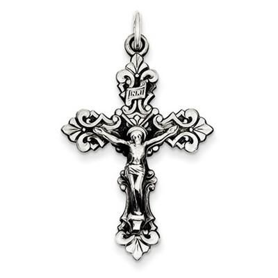 Baroque INRI Sterling Silver Crucifix Pendant