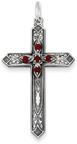 January Birthstone Cross Pendant, Sterling Silver