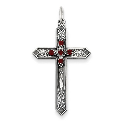January Birthstone Cross Pendant, Sterling Silver