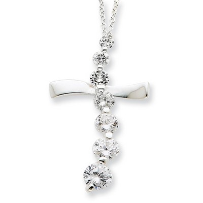 Journey Cubic Zirconia Cross Necklace in Sterling Silver