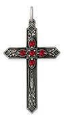 July Birthstone Cross Pendant, Sterling Silver