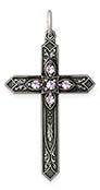 June Birthstone Cross Pendant, Sterling Silver