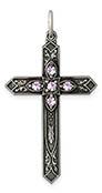 June Birthstone Cross Pendant, Sterling Silver