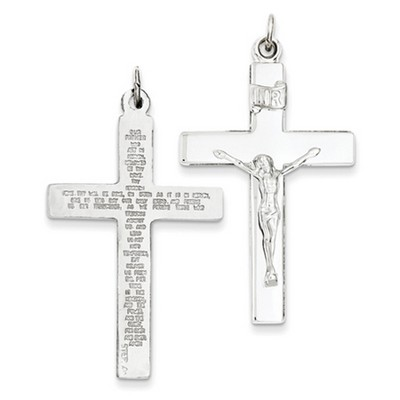 Lord's Prayer Crucifix Necklace in Sterling Silver