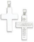 The Lord's Prayer Plain and Polished Cross Pendant, Stelring Silver