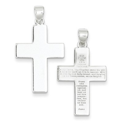 The lords prayer plain and polished cross pendant stelring silver the lords prayer plain and polished cross pendant stelring silver aloadofball Image collections