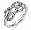 Love Knot Ring with Cubic Zirconia Stones in Sterling Silver