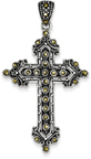 Antique-Finished Two Tone Marcasite Cross Necklace in Sterling silver