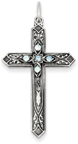 March Birthstone Cross Pendant, Sterling Silver