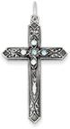 March Birthstone Cross Pendant, Sterling Silver
