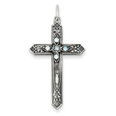 March Birthstone Cross Pendant in Sterling Silver
