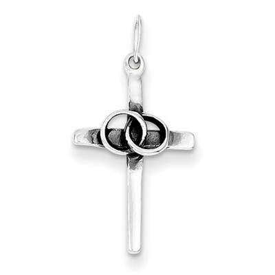 Marriage Cross Pendant in Sterling Silver