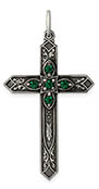 May Birtstone Cross Pendant, Sterling Silver