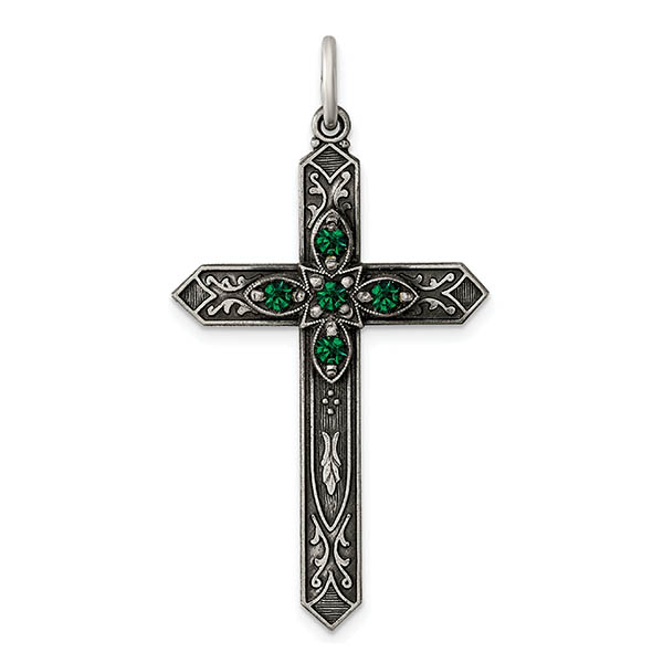 May Birtstone Cross Pendant, Sterling Silver