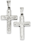 Modern Double-Sided Crucifix Pendant, Sterling Silver