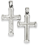 Double-Sided Hollow Cross Crucifix Pendant, Sterling Silver