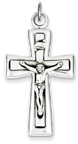 Contemporary INRI Crucifix Pendant in Sterling Silver