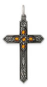 November Birthstone Cross Pendant, Sterling Silver