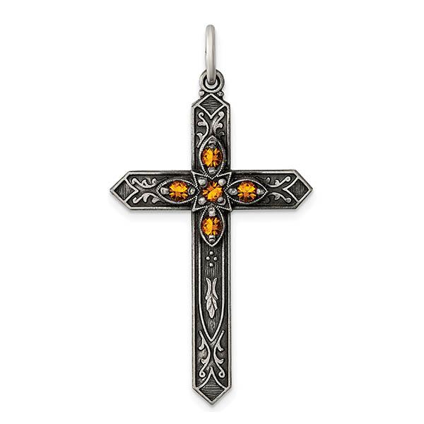 Birthstone | November | Sterling | Silver | Cross
