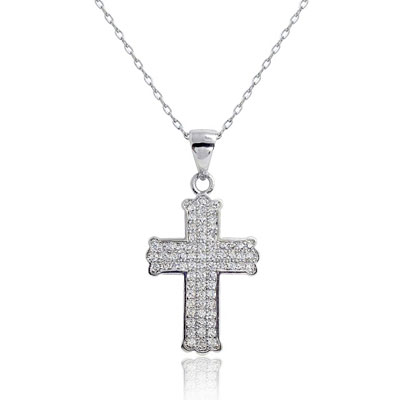 Pave Cubic Zirconia Cross Necklace in Sterling Silver