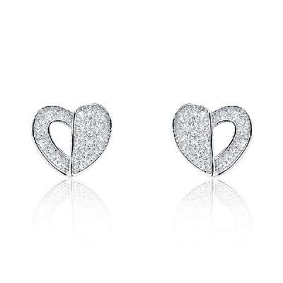 Pave CZ Heart Stud Earrings in Sterling Silver