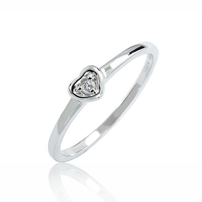 Petite Heart Ring in Sterling Silver with Diamond Accent