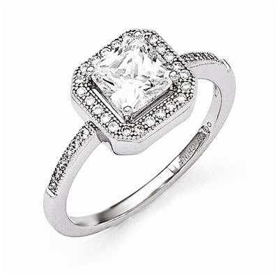 Princess-Cut Cubic Zirconia Stone Ring in Sterling Silver