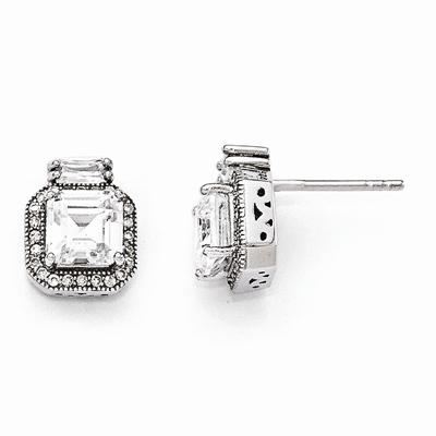 Princess-Cut CZ Post Earrings in Sterling Silver