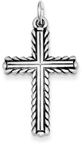 Rope Accent Design Sterling Silver Cross Pendant