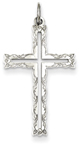 Rosebud Cross Pendant, Sterling Silver