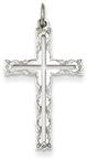Rosebud Cross Pendant, Sterling Silver
