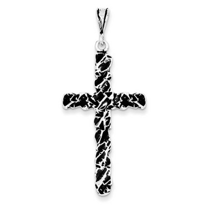 Rugged Antique-Finish Textured Cross Pendant in Sterling Silver