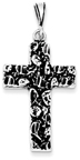 Antique-Finished Nugget Style Cross Pendant in Sterling Silver